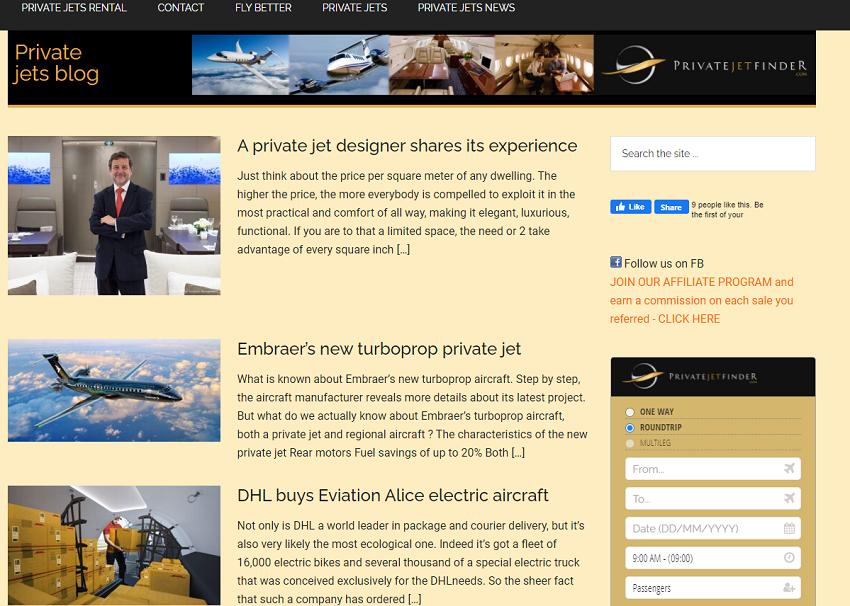 Mon blog pour Privatejetfinder.fr